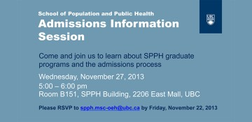 School of Population and Public Health Admissions Information Session