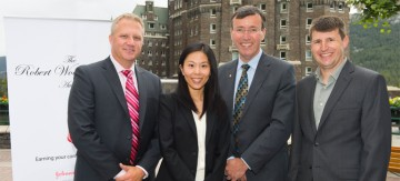 (l to r): Dave Duerr, Johnson & Johnson; SPPH MHA student, Julie Ho, Robert Wood Johnson Award Winner; Brian Schmidt, Clinical Professor, SPPH; and Craig Mitton, SPPH MHA Program Director.